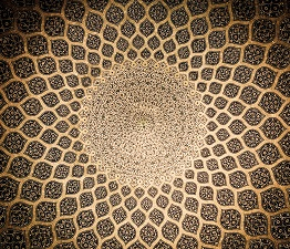Dome of the mosque, oriental ornaments from Isfahan, Iran