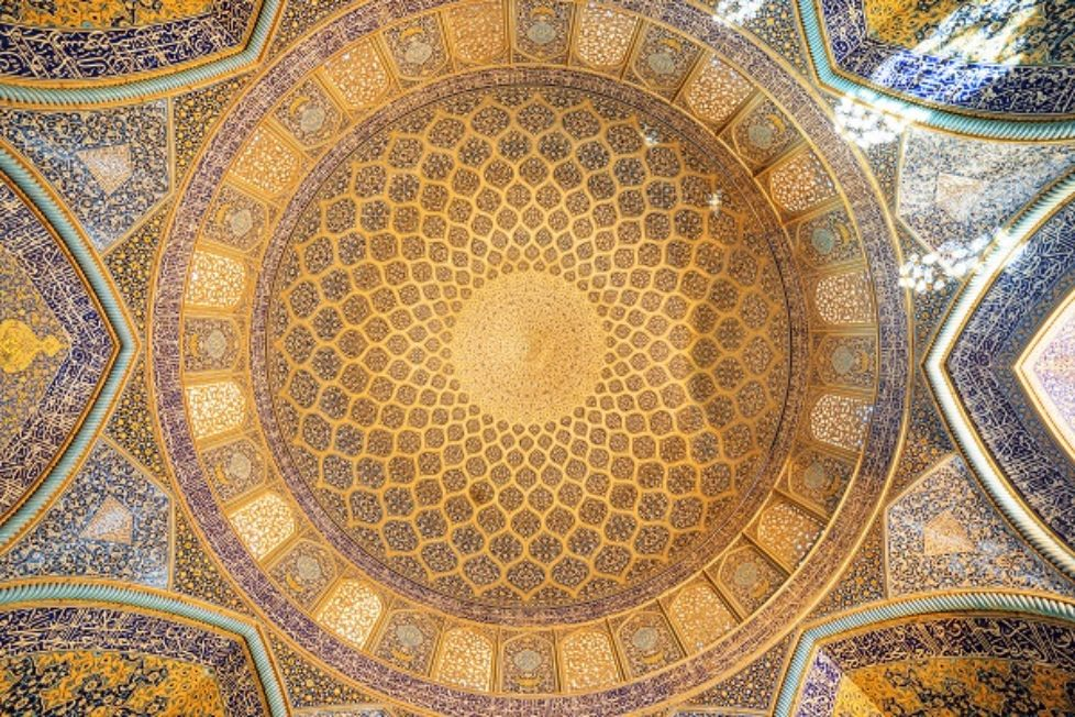 Awesome view of dome inside Sheikh Lotfollah Mosque, Isfahan
