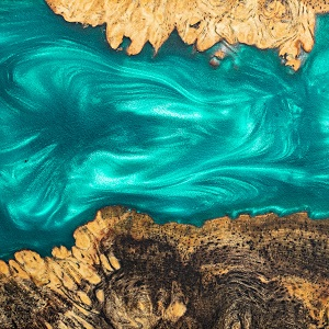 Top view green casting epoxy resin burl wood art background